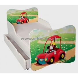 Amila Detská posteľ Psíček v autíčku 140x70cm + matrac ZDARMA!
