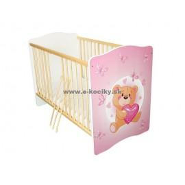 Amila Detská postieľka Baby Medvedík so srdiečkom s matracom