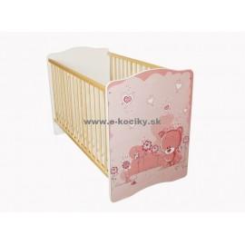 Amila Detská postieľka Baby Ružový medvedík s matracom