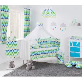 Mamo Tato 12 dielna obojstranná súprava s moskytierou Zigzag zelenomodrá/modrá