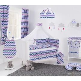 Mamo Tato 12 dielna obojstranná súprava s moskytierou Zigzag fialová/sivá