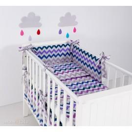 Mamo Tato 3 dielna obojstranná súprava Zigzag fialová/sivá