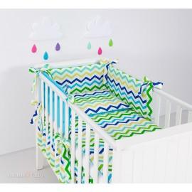 Mamo Tato 3 dielna obojstranná súprava Zigzag zeleno-modrá/modrá