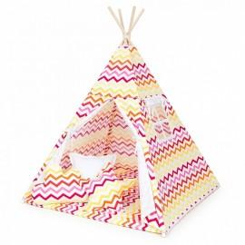Indiánsky stan Teepee cik-cak žltočervená/biela