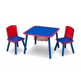 Delta detský stôl so stoličkami modro-červený