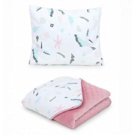 Mamo Tato vankúš a deka Velvet Kolibrík/Ružová