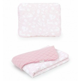 Mamo Tato vankúš a deka Velvet Les pastelový/ružová